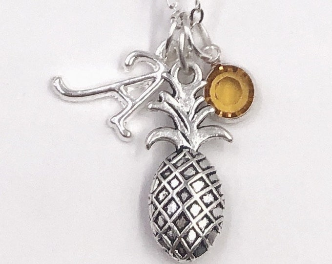 Personalized Pineapple Necklace Gift for Women and Girls, With Sterling Silver Birthstone and Letter Charm, Great Summer Vacation Gift Idea!