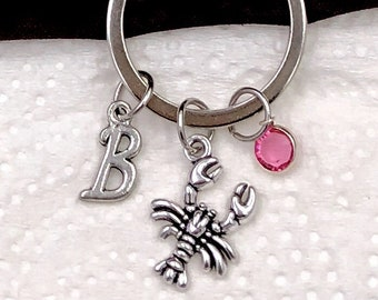 Personalized Lobster Gifts, Silver Lobster Keychain Jewelry for Women and Girls, Sterling Silver Birthstone and Initial Included
