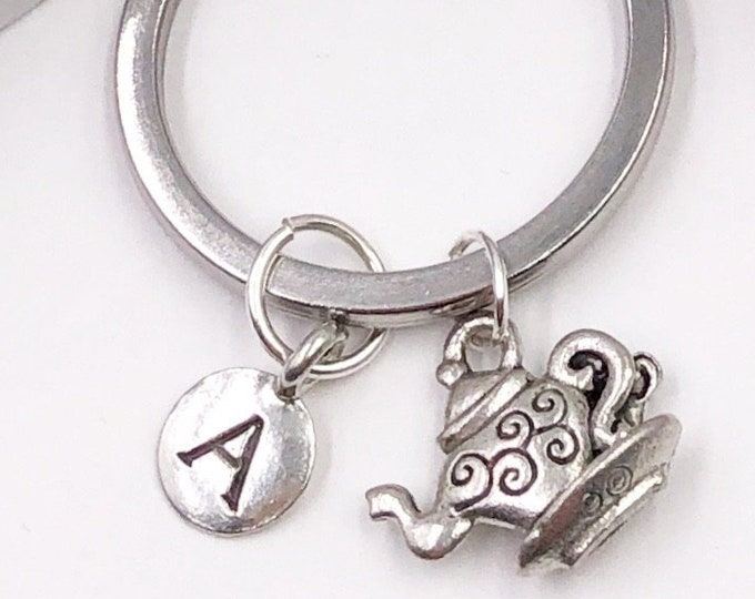 Personalized Keychain Gifts, Silver Teapot Includes Letter Charm, Available With Sterling Silver Birthstone