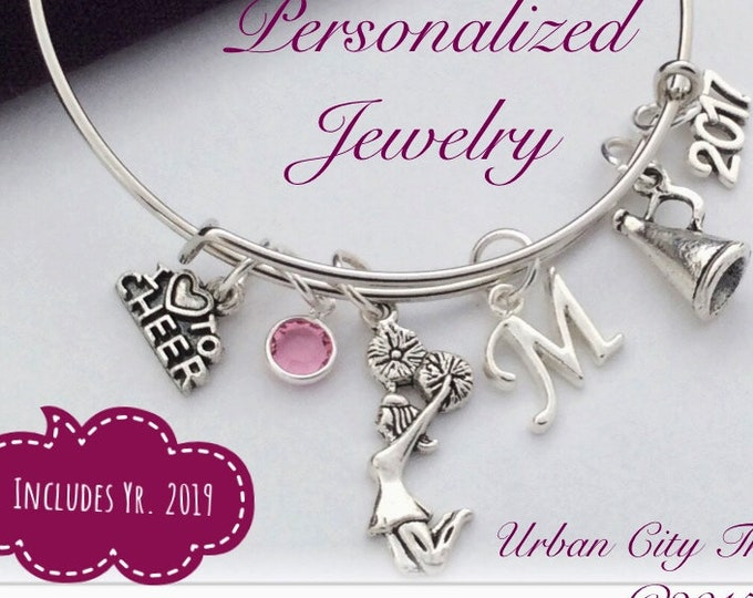 Silver Cheer Bracelet Jewelry Gifts for Girls, Comes With Personalized Sterling Silver Birthstone and Letter Charm, Great Cheer Team  Gift