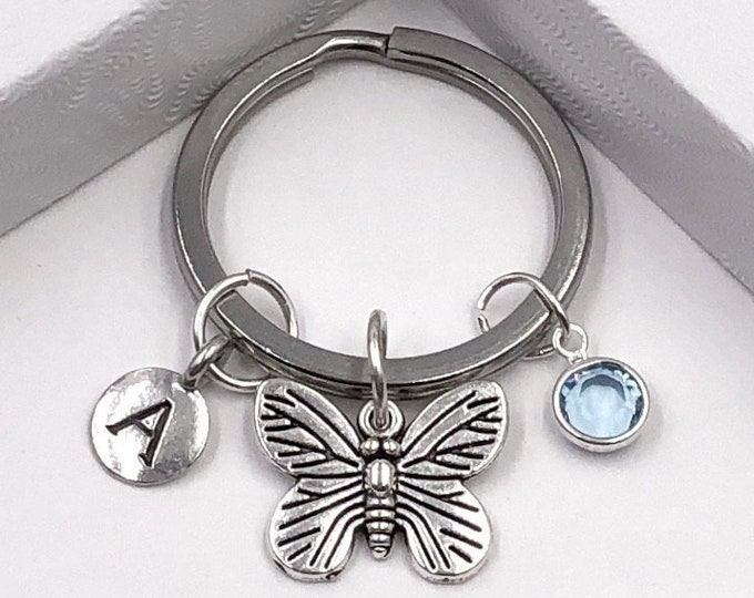 Personalized Silver Butterfly Keychain Gifts for Women and Girls, Sterling Silver Birthstone and Your Choice of Letter Style Included