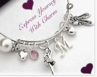 Silver Ballerina Dance Bracelet Jewelry Gifts for Girls, Personalized With a Swarovski Birthstone and Letter Charm