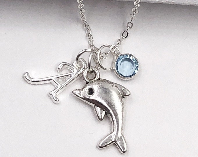 Personalized Dolphin Necklace Gifts, Silver Dolphin Jewelry for Women and Girls, Includes Sterling Silver Birthstone and Letter Charm