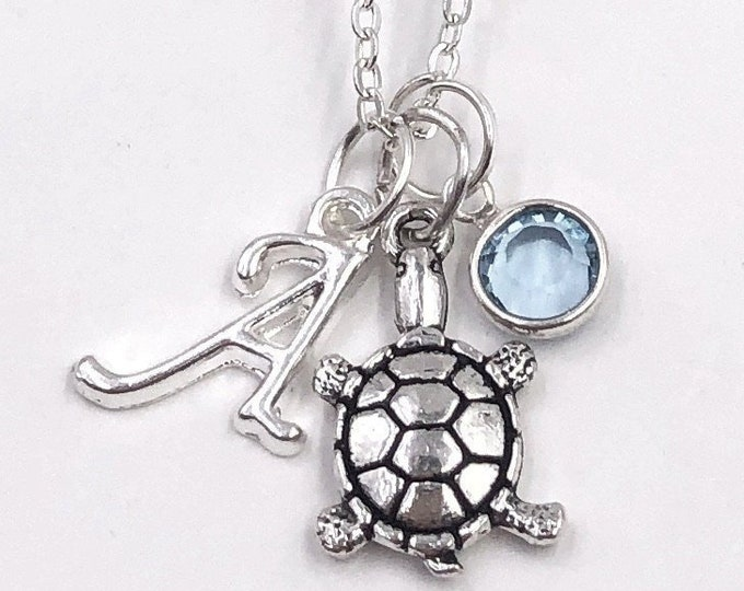 Personalized Turtle Gifts, Silver Sea Turtle Necklace Jewelry for Women and Girls, Sterling Silver Birthstone and Initial Included
