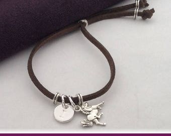 Horse cord anklet, horse charm anklet, personalized horse anklet, boho chic anklet, horse gifts, horse jewelry, silver horse, girls anklet