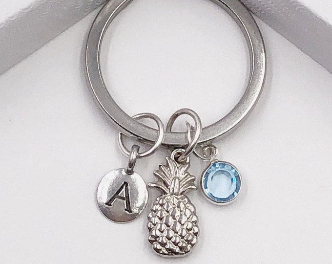 Silver Personalized Pineapple Keychain Gifts for Women and Girls, Sterling Silver Birthstone and Choice of Letter Style Included