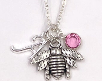 Personalized Silver BumbleBee Necklace Jewelry Gifts for Women and Girls, Sterling Silver Birthstone and Letter Style Charm Included