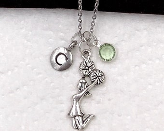 Cheerleading Necklace, Cheerleading Gifts, Cheerleading Charm Necklaces, Women's Personalized Necklace, Silver Birthstone Necklace,