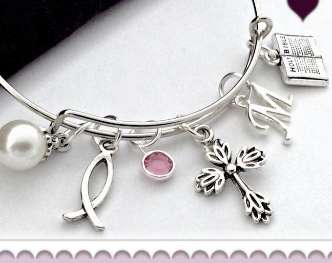 Personalized Christian Cross Communion Silver Jewelry Charm Bracelets, Gift for Women and Girls, Includes Swarovski Birthstone and Initial