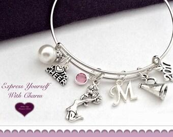 Cheer Bracelet, Cheer Bangle Charm Bracelet, Cheerleader Bracelet, Cheerleader Bangle, Birthstone Charm Bracelet, Personalized Bracelet,