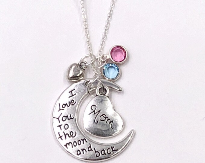 Personalized Silver Necklace Jewelry Gift for Mom, Includes Sterling Silver Birthstone(s), Choose from 10 Different Family Heart Charms