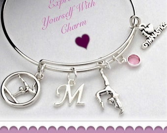 Girls Personalized Silver Gymnastics Charm Bracelet Jewelry Gifts, Includes a Sterling Silver Birthstone and Letter Charm