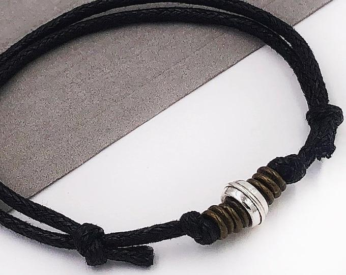 Mens Beaded Bracelet,  Mens Brown or Black Corded Bracelet Gifts, Trendy Unisex Jewelry, Men's Christmas Gift, Popular Boyfriend Bracelet