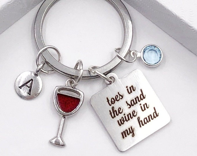 Personalized Red Wine Keychain, Great Vacation or Retirement Gift, Includes Sterling Silver Birthstone and Your Choice of Letter Style