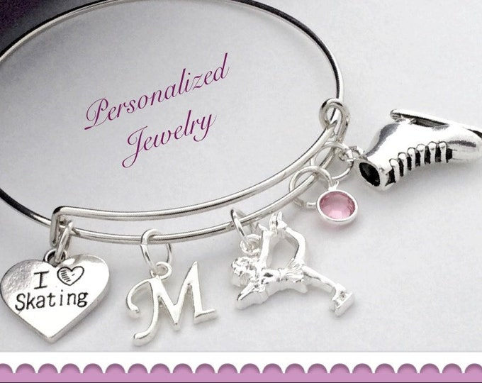 Personalized Silver Ice Skating Bracelet Jewelry Gift for Girls, Includes Sterling Silver Birthstone and Letter Charm