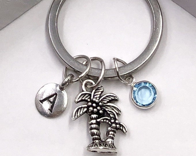 Personalized Silver Palm Tree Keychain, Great Retirement or Vacation Gift for Women or Girls, Includes Birthstone and Choice of Letter Style