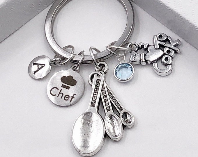 Personalized Silver Chef Keychain Gift Idea, Includes Sterling Silver Birthstone and Your Choice of Initial Style Charm