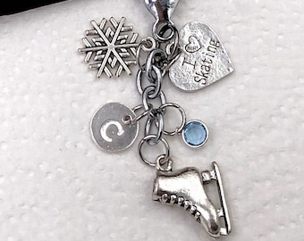 Ice Skating Gifts, Personalized Silver Skating Jewelry Keychain for Women and Girls with Sterling Silver Birthstone and Letter Charm