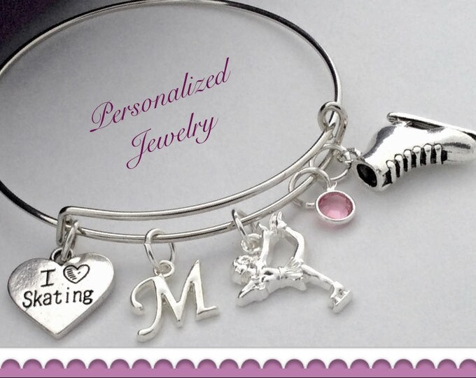 Girls Personalized Ice Skating Bracelet Jewelry Gifts, Includes Sterling Silver Birthstone and Letter Charm