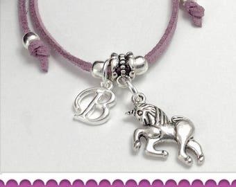 Unicorn cord bracelet, unicorn charm bracelet, personalized unicorn bracelet, boho bracelet, unicorn gifts, unicorn jewelry