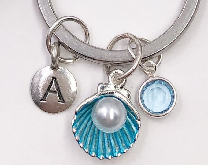 Personalized Seashell Pearl Keychain Gifts for Women and Girls, Includes Sterling Silver Birthstone and Your Choice of Letter Style Charm