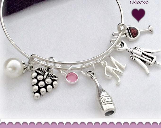 Women's Personalized Red Wine Silver Bracelet Jewelry Gifts, With a Sterling Silver Birthstone and Letter Charm, Great Vacation Gift Idea!