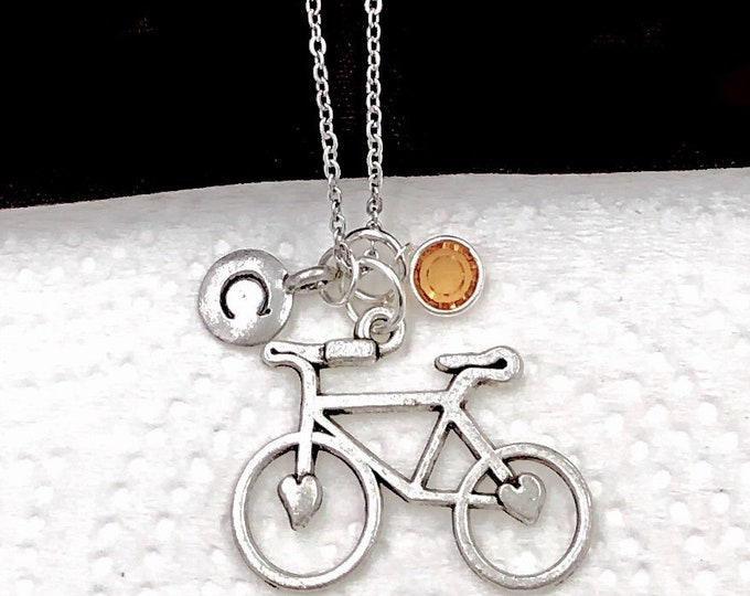 Bicycle Necklace, Bicycle Charm Necklace, Bicycle Jewelry, Bicycle Gifts, personalized Long Necklace, Silver Birthstone Necklace