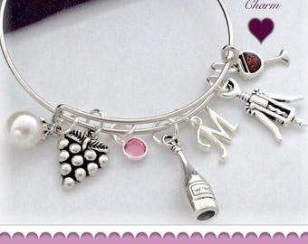 Wine Bracelet, Wine Bangle. Wine Charm Bracelet, Red Wine Bangle, Wine Jewelry, Personalized Wine Bracelet, Birthstone Wine Bracelet