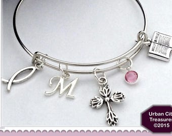 Personalized Christian Cross Silver Jewelry, Charm Bracelet Gift for Women and Girls, Includes Sterling Silver Birthstone and Letter Charm