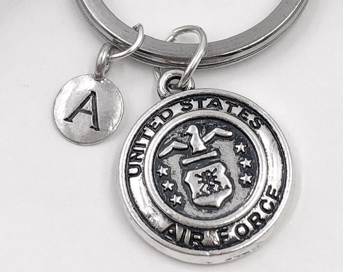 Personalized Silver Military Keychain Gift, Includes Choice Of Military Branch and Letter Style Charm, Sterling Silver Birthstones Available