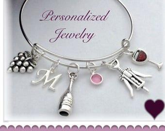 Wine Bangle Bracelet, Wine Charm Bracelet, Wine Jewelry, Wine Gifts, Personalized Wine Bracelet, Birthstone Wine Bracelet, Red Wine Bangle