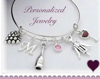 Personalized Wine Jewelry Gifts for Women, Red Wine Silver Bracelet with Swarovski Birthstone and Letter Charm