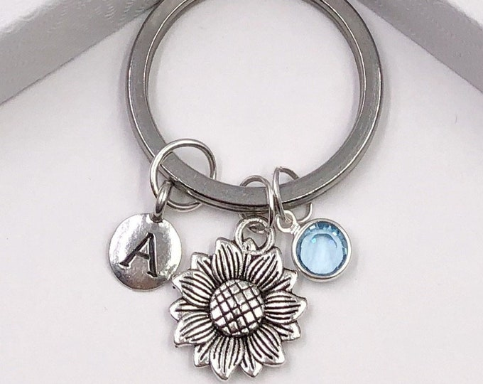 Personalized Silver Sunflower Keychain, Great Gift Idea for Women and Girls, Sterling Silver Birthstone and Initial Included