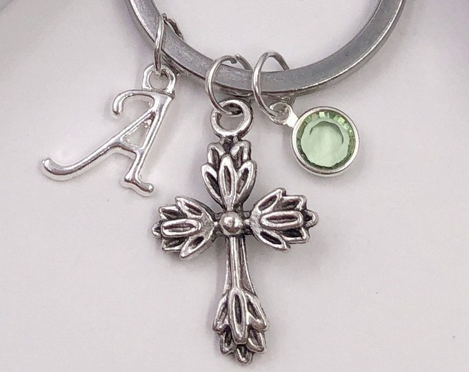 Personalized Cross Gifts, Silver Cross Keychain Jewelry for Women and Girls, Sterling Silver Birthstone and Initial Included