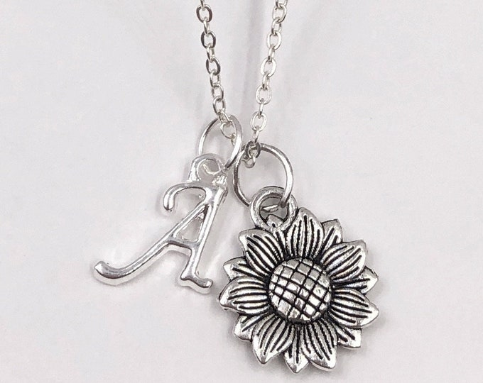 Personalized Silver Sunflower Necklace Gifts for Women and Girls, Choice of Letter Style Charm, Sterling Silver Birthstones Available