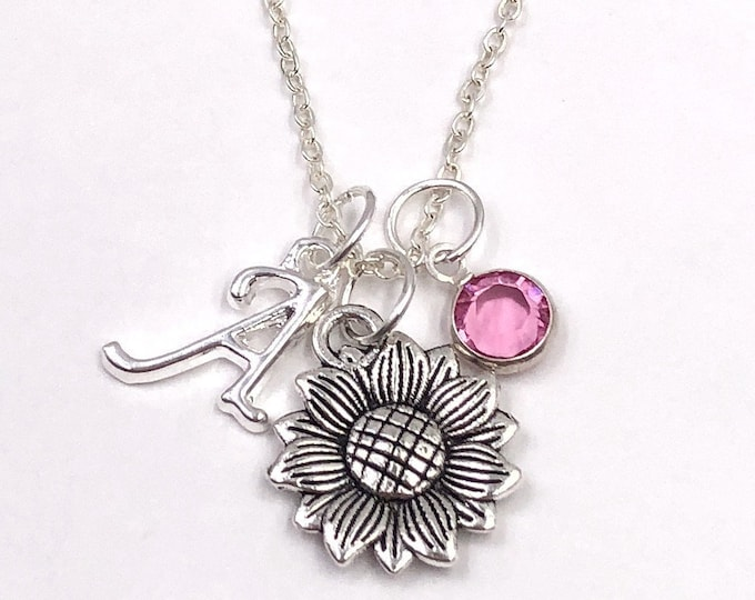 Personalized Silver Sunflower Necklace Gifts for Women and Girls, Sterling Silver Birthstone and Letter Style Charm Included
