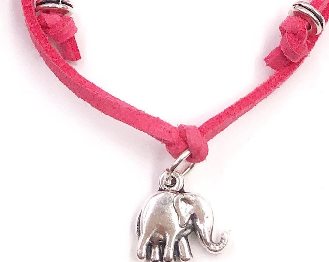 Elephant Cord Bracelet or Anklet, Great Jewelry Gift Idea for Women and Girls, Available in 20 Different Vibrant Colors.