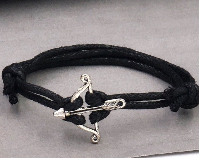 Bow and Arrow Bracelet, Silver Archery Jewelry Gift for Husband or Boyfriend, Your Choice of Cord Color, Great Gift Idea for Teens