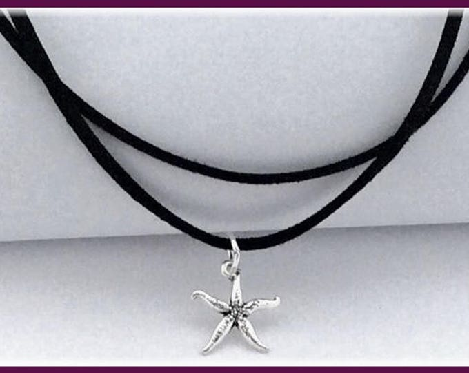 Womens Starfish Charm Chokers, Girls Trendy Black Cord Choker Jewelry, Popular Double Choker Starfish Necklaces, Retro 90's Thin Chokers