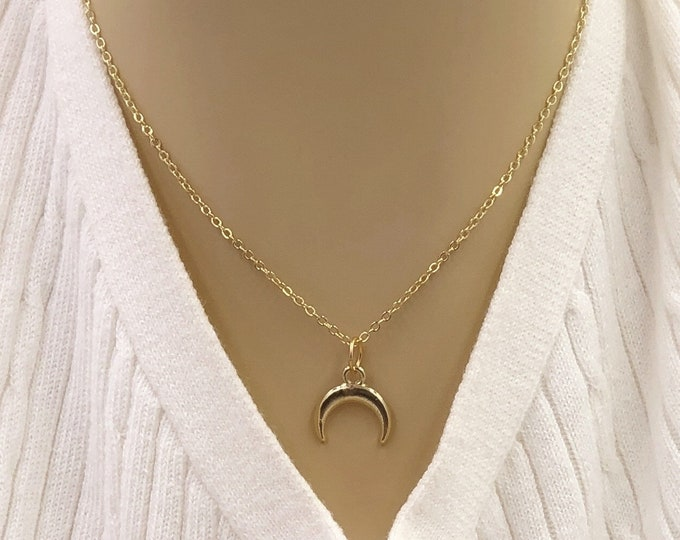 Crescent Half Moon Necklace Jewelry Gifts For Women and Girls, Comes With Your Choice of Sterling Silver, Gold, or Rose Gold Filled Chain