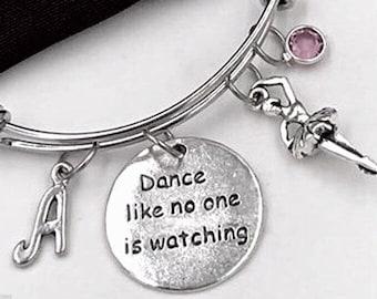 Dance Like No One Is Watching Ballerina Bracelet, Inspirational Ballerina Jewelry, Ballet Dance Gift, Personalized Initial Birthstone Bangle