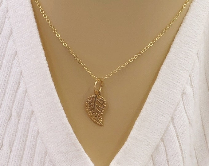 Gold or Silver Winter Leaf Necklace Jewelry Gifts For Women and Girls, With Your Choice of Sterling Silver, Gold, or Rose Gold Filled Chain