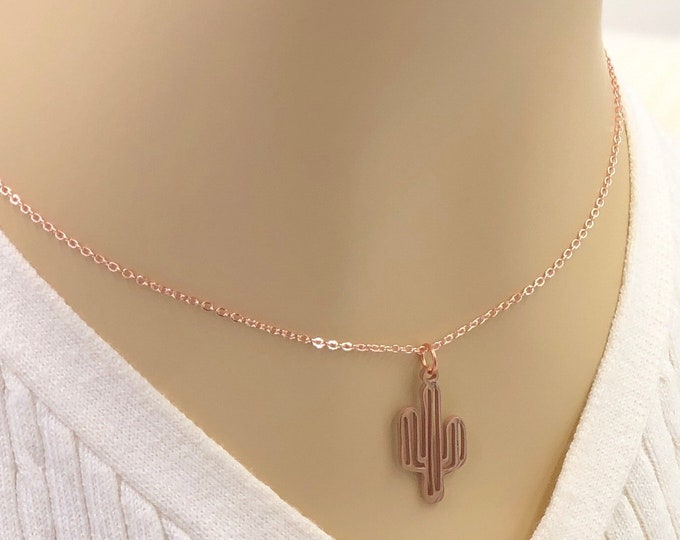 Cactus Necklace for Women, Silver, Gold, or Rose Gold Stainless Steel Jewelry, Includes Sterling Silver, Gold, or Rose Gold Filled  Chain