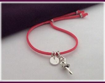 Ballerina cord bracelet, ballerina charm bracelet, personalized ballerina bracelet, ballerina gifts, ballerina jewelry, boho chic bracelet