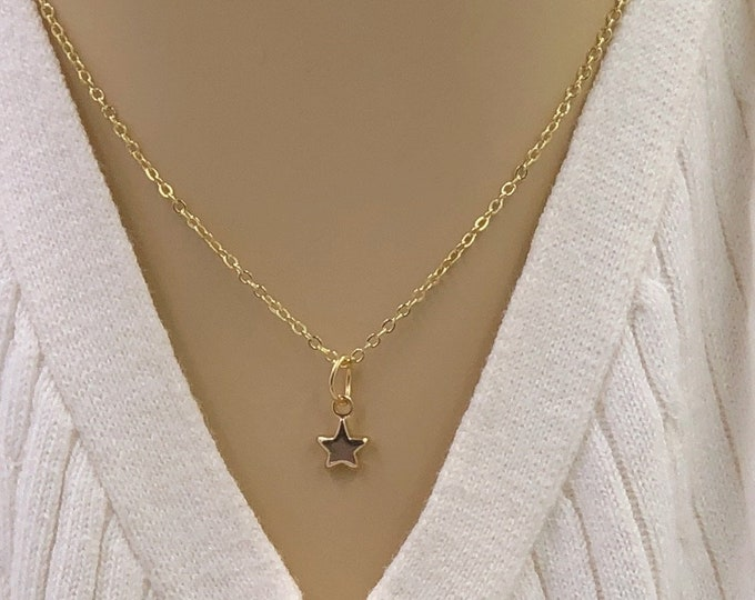 Tiny Silver or 24k Gold Star Necklace, Jewelry Gifts for Women, Includes Your Choice of Sterling Silver, Gold, or Rose Gold Filled Chain