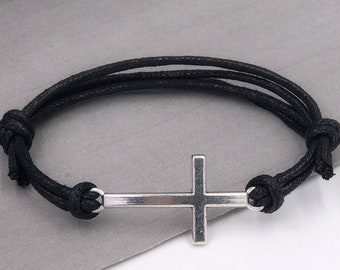 Cross Bracelet, Silver Christian Jewelry Gifts for Men and Boys, Faux Leather Cord Bracelet With Choice of Colors, Boyfriend Gift