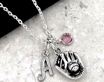 Baseball Necklace, Softball Necklace, Women and Girls Jewelry, Gift Idea for Sports Players and Coaches, Personalized Birthstone and Initial