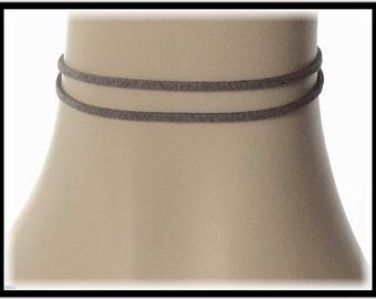Black choker necklace women, double cord Choker, simple boho chic choker, thin choker necklace, trendy choker, leather suede choker