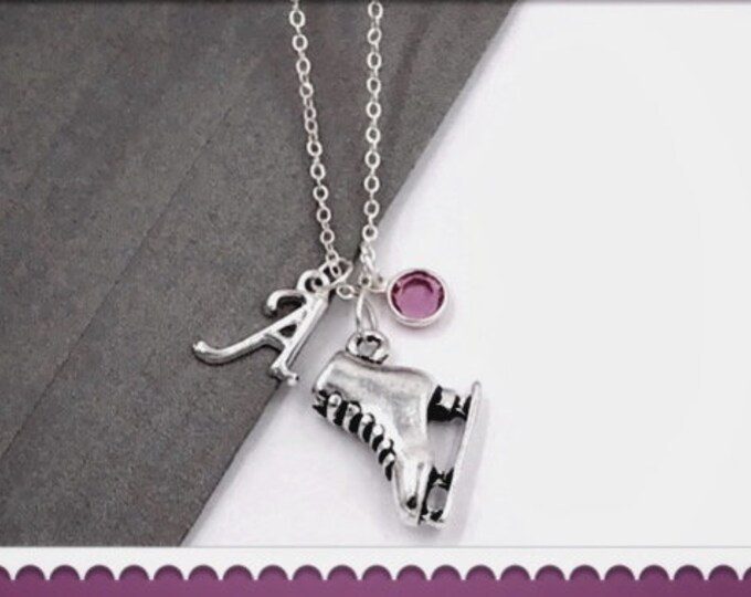 Silver Ice Skate Necklace, Great Jewelry Gift for Skating Team or Coach, Personalized With Sterling Silver Birthstone and Letter Charm