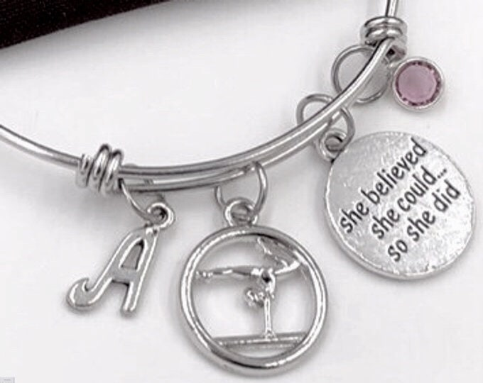 Gymnast Gift, She Believed She Could so She Did Bracelet, Gymnastics Jewelry, Sports Team Gifts, Personalized Birthstone Bangle Bracelet
